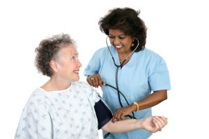 caregiver with stethoscope