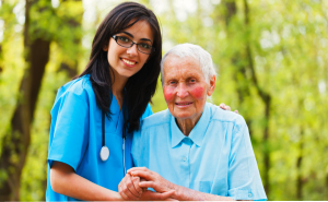 an elderly and a caregiver