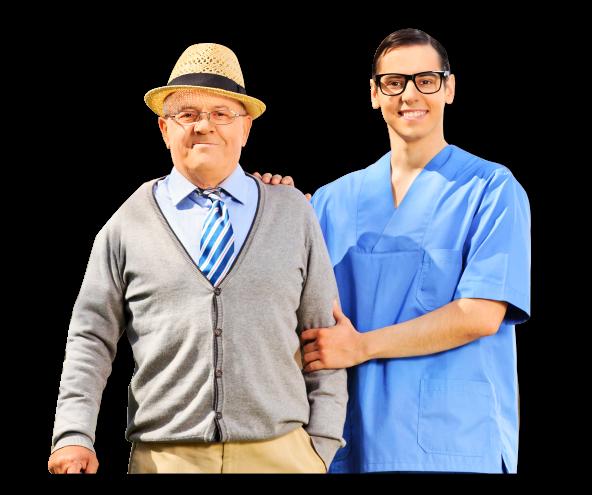 an elderly and a caregiver
