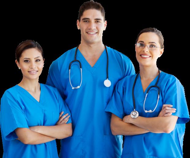 three blue nurses