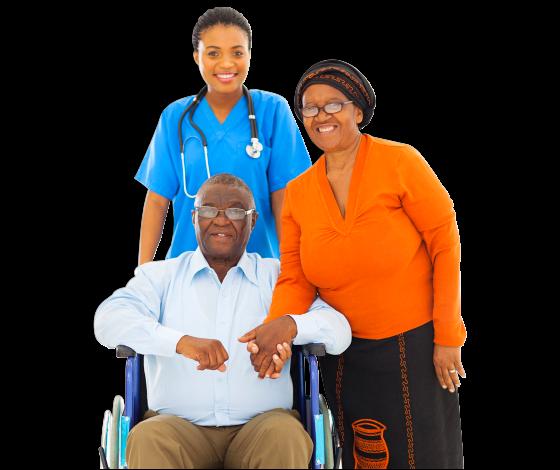 two nurses with elderly